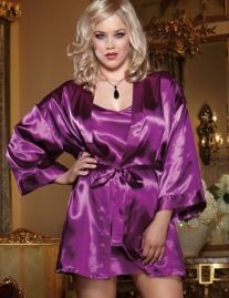 Charmeuse low back plus size babydoll and matching robe with attached belt. Includes matching padded lingerie hanger. $21.56