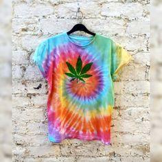 Pot leaf shirt tie dye marijuana leaf shirt rainbow tshirt unisex all sizes Cher Horowitz, Rainbow Tie Dye Shirt, 420 Clothing, Clothing Ideas, Plain White T Shirt, Hippie T Shirts, Hemp Leaf, Stoner Gifts, Tie Dye Fashion
