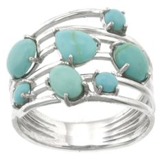 Sterling Silver Turquoise Multi-Stone Ring, Size 8