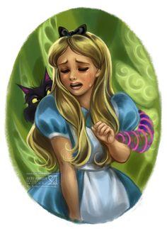 Alice [feat. the Cheshire Cat] (Drawing by Daekazu @deviantART) #AliceInWonderland