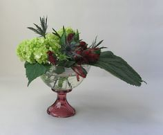 Natural arrangement of hydrangea, thistle, and alstroemeria