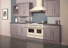 #Kitchen of the Day: A soft lavender kitchen with a cream-colored range oven and hood by Britannia Living (BritanniaLiving.co.uk, Kitchen-Design-Ideas.org)