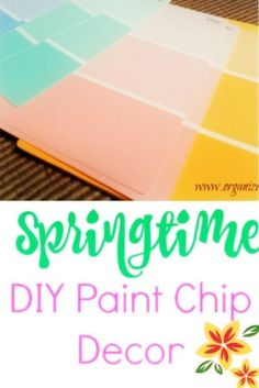 Ombre Paint Chip Spring Art : A quick and easy paint chip craft idea. Ombre Paint Chip Spring Art sign to welcome spring! All you need are some paint chips, a punch, photo frame and lettering. Paint Chip Art, Paint Chips, Crafts For Teens To Make, Crafts To Do, Kids Crafts, Crackle Painting, Diy Painting, Ombre Paint, Spring Art