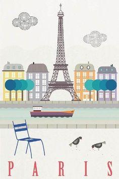 Beautiful vintage travel poster of Paris, France. Illustration Parisienne, Paris Illustration, Travel Illustration, Illustrations, Paris Poster, Poster City, Deco France, France Art, Art Parisien