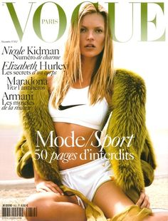 This image of a Vogue magazine issue is showing that sport clothes can be stylish and trendy. If models like this can wear sport styles then many others will want to as well. They add a unique touch to the sport look with the fur coat to add their own sense of style to this fashion trend in sports. Cassidy B.