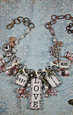 Hope necklace - Soldered Assemblage Vintage Inspired Statement Jewelry - Angela Venable Art