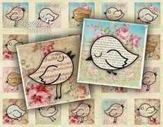 Paper Bird  squares image  digital collage sheet by bydigitalpaper