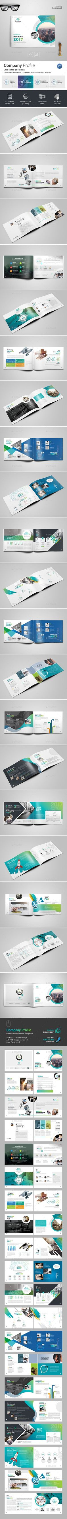 Company Profile Landscape Brochure 40 Page - Brochures Print Templates