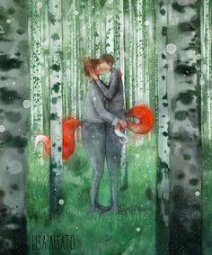 Lisa Aisato Lovers Kiss, William Turner, Character Sketches, People Art, Gouache, Illustrators, Fairy Tales, Whimsical, Lisa