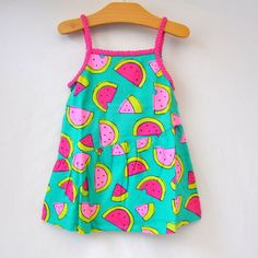 #Toddler Girls Babydoll Top Size 4T Green Background with Watermelons Kohls New