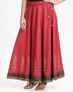 Cotton Khari Border Ghera Long Skirt