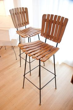 Arthur Umanoff Mid Century Modern Slat Wood And Iron Bar Stools