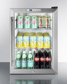 Summit Compact Beverage Cooler with cu. Capacity, Double Pane Tempered Glass Door, Automatic Defrost, Factory Installed Lock, Interior LED Lighting and Commercial Use Approved Beverage Refrigerator, Mini Fridge, Summit Refrigerator, Compact Refrigerator, Commercial Glass Doors, Dollar Tree Organization, Kitchen Organization, Organization Ideas, Refrigerator Organization