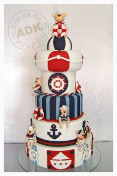 Sailor Cake - Katie check this out! Pretty Cakes, Cute Cakes, Beautiful Cakes, Amazing Cakes, Deco Theme Marin, Fondant Cakes, Cupcake Cakes, Sailor Cake, Sailor Theme