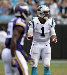 Carolina Panthers quarterback Cam Newton (1) gives a look toward a game official while playing against the Minnesota Vikings in the second half at Bank of America Stadium on Sunday, September 25, 2016. The Vikings won, 22-10.