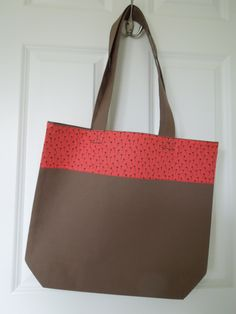"""Cotton Tote with limited edition Liberty fabric panel """"Seed Head (Red)"""" ( design taken from from a coverlet made in England 1802-1830, created for the Victoria & Albert Museum"""