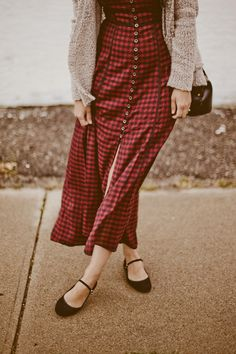 Deer Circus: floor-length, flannel, and red all over