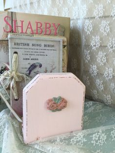 Shabby Book Rack Painted Cottage Chic Desktop Book Holder, Table Top Book…