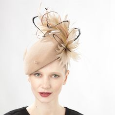 Jane Taylor / Emery- Felt Beret Hat with Feathers - WINTER - Millinery - Online Store