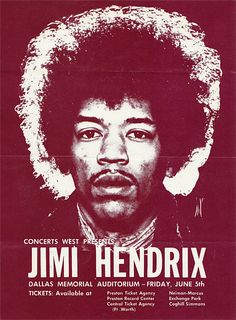 "Jimi Hendrix - 1970 Dallas ""Cry of Love Tour"" Handbill 