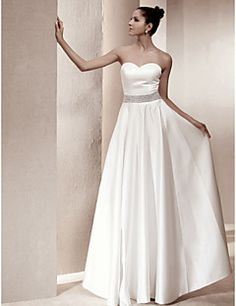 Wedding Dress A Line Floor Length Satin Sweetheart Strapless Bridal Gown With Beading Get awesome discounts up to 70% Off at Light in the Box with coupon and Promo Codes.