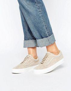 8222810fa5  88 Beige Nude Brown ASOS Premium Old School Suede Vans Sneakers With White  Platform Heels Spring