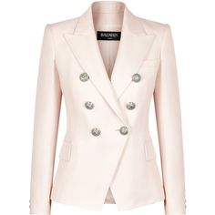 Balmain Pale Pink Double-breasted Blazer (6.870 BRL) found on Polyvore featuring women's fashion, outerwear, jackets, blazers, pink blazer, pink blazer jacket, pink jacket, balmain jacket and blazer jacket