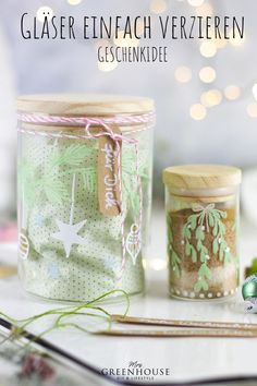 Diy Greenhouse, Diy Weihnachten, Mason Jars, Blog, Xmas, Jewelry Making, Wrapping Gifts, Diy Presents, Christmas Jars