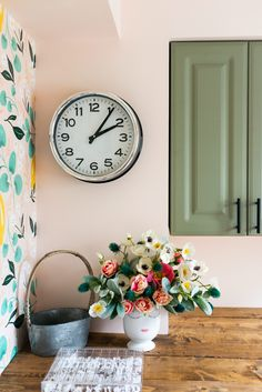 """Behr """"Peach Rose"""" is on the wall. The cabinet color is Lichen by Fusion Mineral paint. Peach Paint Colors, Behr Paint Colors, Bedroom Paint Colors, Room Colors, Neutral Paint, Gray Paint, Colorful Kitchen Decor, Kitchen Wall Colors, Kitchen Paint"""
