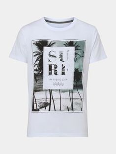 bbbbb944c4882 White Surf Print T-Shirt Surf Style Men