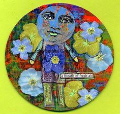 Joanna Grant Mixed Media Art: gelli print on a recycled CD ~ so cool!