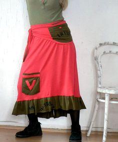 M-L jersy cotton long recycled skirt hippir boho style.
