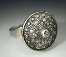E. Granit & Co. Finland Modernist Sterling Silver Raised Dome Ring Sz 8.25