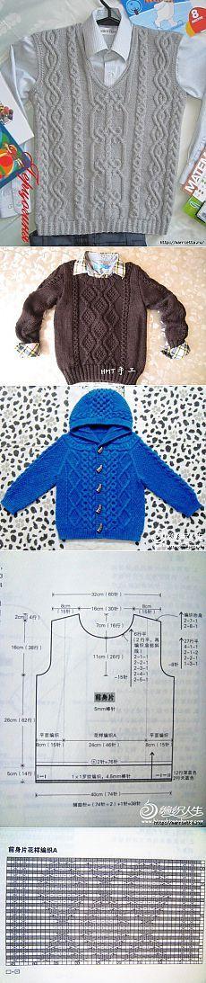 Жилет, жакеты, пуловер и шапочка спицами для мальчика.