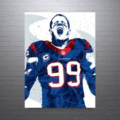 "Justin James ""JJ"" Watt poster. An American football defensive end for the Houston Texans of the National Football League. He was drafted by the Texans in the first round of the 2011 NFL Draft, and pla"