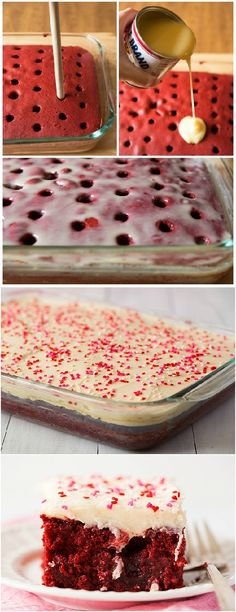 Red Velvet Poke Cake, I need to make this for my husband since he loves red velvet cake! Red Velvet Cake Frosting, Red Velvet Sheet Cake Recipe, Red Velvet Cake Icing, Red Velvet Wedding Cake, Red Velvet Birthday Cake, Red Velvet Desserts, Red Velvet Recipes, Red Velvet Brownies, Birthday Ideas For Husband