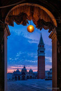 St. Mark's Basilica and Campanile at dawn, Venice, Italy