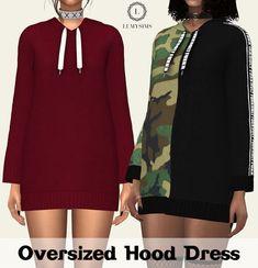 Oversized Hood Dress at Lumy Sims • Sims 4 Updates
