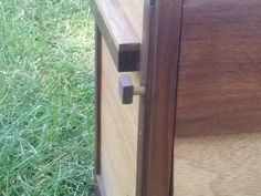 Reclaimed Mahogany and Black Walnut Portable Bar locking pin. Crafted by L. Design Reclaimed.