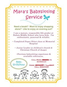 babysitting flyer using mds babysitting classes babysitting flyers babysitting activities babysitter printable
