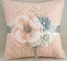 Ring Bearer Pillow Bridal Pillow Wedding Pillow in Ivory, Peach and Light Grey with Lace and Pearls. $115.00, via