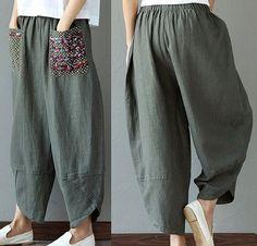 DIY - molde, corte e costura - Marlene Mukai Linen Pants Women, Wide Leg Linen Pants, Pants For Women, Clothes For Women, Baggy Trousers, Harem Pants, Fashion Sewing, Boho Fashion, Boho Hose