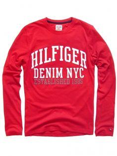 Long Sleeve NYC Hilfiged Denim czerwony