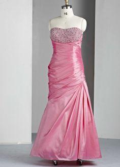 Taffeta Modified Sweetheart Intricately Hand-Beaded Bodice Long Prom Dress