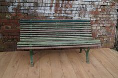 Vintage English Garden Bench with Slatted Seat and Metal Frame Retro Furniture, Garden Furniture, Antique Furniture, Outdoor Furniture, Outdoor Decor, Wood Accents, Mid Century Furniture, Patio, Bench