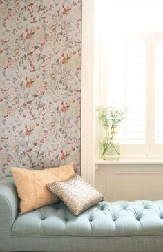 The new Aire Papillon wallpapers use manipulated digital images together with coloured inks, and mica and metallic bases. Hallway Wallpaper, Dining Room Wallpaper, Bathroom Wallpaper, Wallpaper Ideas, Cherry Blossom Flowers, Red Flowers, Latest Wallpapers, Murals, Print Design