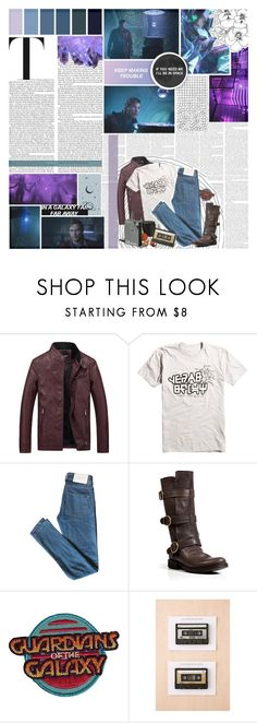 """""""star-lord, man.  legendary outlaw? .::. peter quill"""" by azia-lou-who ❤ liked on Polyvore featuring Marvel, Surface To Air, Fiorentini + Baker and Fracas Studios"""