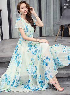 & & Sommer V-Ausschnitt Floral Bedruckte Chiffon Maxi-Kleid Long Gown Dress, Chiffon Dress Long, Dress For, Prom Dress, Floral Chiffon, Barbie Dress, Chiffon Fabric, Floral Maxi Dress, Swing Dress