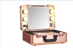 Small  Rose Gold Vanity Trolley (makeup trolley case Led Light)