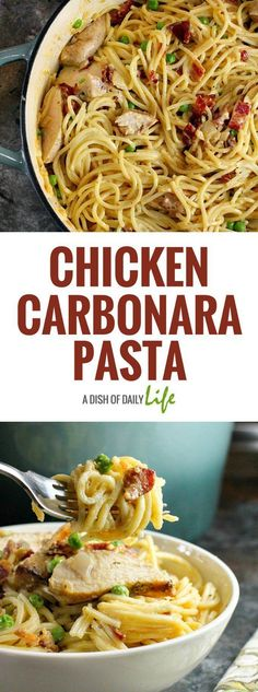 Chicken Carbonara Pasta...this is an easy comfort food recipe that is sure to be a hit with the whole family! You can use leftover grilled chicken as well. Chicken | Main Dishes | Pasta | Carbonara | Dinner | Comfort Food